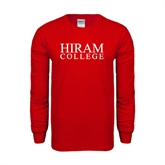 Red Long Sleeve T Shirt-Hiram College Institutional