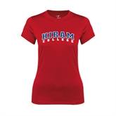 Ladies Syntrel Performance Red Tee-Arched Hiram College
