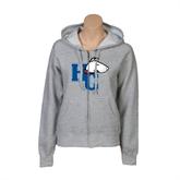 ENZA Ladies Grey Fleece Full Zip Hoodie-HC w/Terrier Head