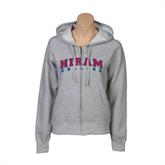 ENZA Ladies Grey Fleece Full Zip Hoodie-Arched Hiram College