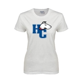 Ladies White T Shirt-HC w/Terrier Head