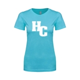Ladies SoftStyle Junior Fitted Light Blue Tee-HC