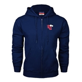 Navy Fleece Full Zip Hoodie-HC w/Terrier Head