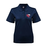 Ladies Easycare Navy Pique Polo-HC w/Terrier Head