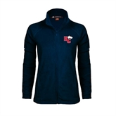 Ladies Fleece Full Zip Navy Jacket-HC w/Terrier Head