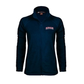 Ladies Fleece Full Zip Navy Jacket-Arched Hiram College