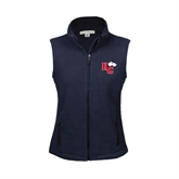 Ladies Fleece Full Zip Navy Vest-HC w/Terrier Head