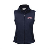 Ladies Fleece Full Zip Navy Vest-Arched Hiram College