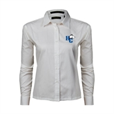 Ladies White Twill Button Down Long Sleeve-HC w/Terrier Head