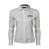 Ladies White Twill Button Down Long Sleeve-Arched Hiram College