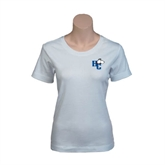 Ladies White Stretch Scoop Neck-HC w/Terrier Head
