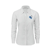 Ladies White Oxford Shirt-HC w/Terrier Head