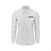 Ladies White Oxford Shirt-Arched Hiram College