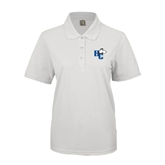 Ladies Easycare White Pique Polo-HC w/Terrier Head