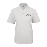 Ladies Easycare White Pique Polo-Arched Hiram College
