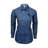 Ladies Deep Blue Tonal Pattern Long Sleeve Shirt-HC