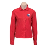 Ladies Red Twill Button Down Long Sleeve-HC w/Terrier Head