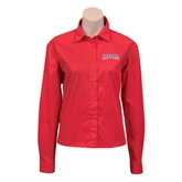 Ladies Red Twill Button Down Long Sleeve-Arched Hiram College