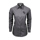 Ladies Grey Tonal Pattern Long Sleeve Shirt-HC