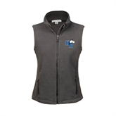 Ladies Fleece Full Zip Charcoal Vest-HC w/Terrier Head