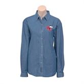 Ladies Denim Long Sleeve Shirt-HC w/Terrier Head