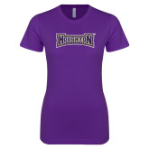 Next Level Ladies SoftStyle Junior Fitted Purple Tee-Houghton Highlanders