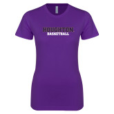 Next Level Ladies SoftStyle Junior Fitted Purple Tee-Basketball