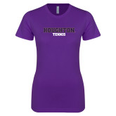 Next Level Ladies SoftStyle Junior Fitted Purple Tee-Tennis