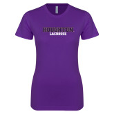 Next Level Ladies SoftStyle Junior Fitted Purple Tee-Lacrosse
