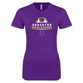 Next Level Ladies SoftStyle Junior Fitted Purple Tee-Soccer Design 2