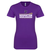Next Level Ladies SoftStyle Junior Fitted Purple Tee-Lacross Design 2