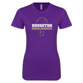Next Level Ladies SoftStyle Junior Fitted Purple Tee-Volleyball Design