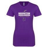 Next Level Ladies SoftStyle Junior Fitted Purple Tee-Track and Field Design 1