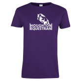 Ladies Purple T Shirt-Houghton Equestrian Jumping Horse