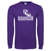 Purple Long Sleeve T Shirt-Houghton Equestrian Jumping Horse