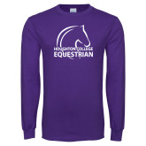 Purple Long Sleeve T Shirt-Houghton College Equestrian Horse Head
