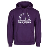 Purple Fleece Hoodie-Houghton College Equestrian Horse Head