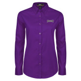 Ladies Purple Twill Button Down Long Sleeve-Houghton Highlanders