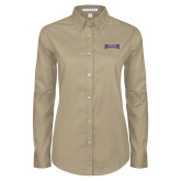 Ladies Khaki Twill Button Down Long Sleeve-Houghton Highlanders