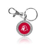 Crystal Studded Round Key Chain-Hawk Head