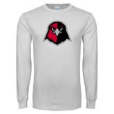White Long Sleeve T Shirt-Hawk Head