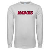 White Long Sleeve T Shirt-Hawks