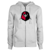 ENZA Ladies White Fleece Full Zip Hoodie-Hawk Head