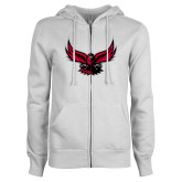 ENZA Ladies White Fleece Full Zip Hoodie-Hawk Logo