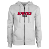 ENZA Ladies White Fleece Full Zip Hoodie-Hawks Mom