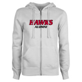 ENZA Ladies White Fleece Full Zip Hoodie-Hawks Alumni