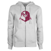 ENZA Ladies White Fleece Full Zip Hoodie-Hawk Head Glitter Hot Pink Glitter