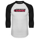 White/Black Raglan Baseball T Shirt-Secondary Logo