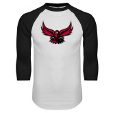 White/Black Raglan Baseball T Shirt-Hawk Logo