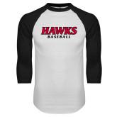 White/Black Raglan Baseball T Shirt-Hawks Baseball
